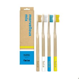 F.E.T.E Adult Bamboo Toothbrush Marvelous Mix Medium Bristle 4 Pack