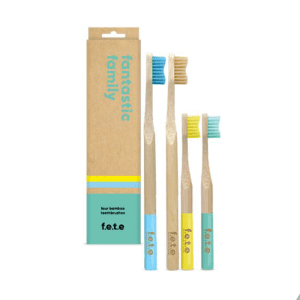 F.E.T.E Bamboo Toothbrush Fantastic Four Family Pack Multicolor Toothbrushes 2 Medium Adult 2 Soft Child